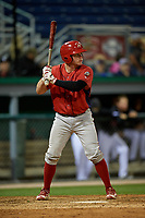 Williamsport Crosscutters Mitchell Edwards (33) at bat during a NY-Penn League game against the Batavia Muckdogs on August 26, 2019 at Dwyer Stadium in Batavia, New York.  Batavia defeated Williamsport 10-0.  (Mike Janes/Four Seam Images)