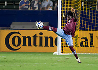CARSON, CA - SEPTEMBER 19: Lalas Abubakar #6 of the Colorado Rapids clears a ball during a game between Colorado Rapids and Los Angeles Galaxy at Dignity Heath Sports Park on September 19, 2020 in Carson, California.