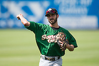 Jonathan Johnson (8) of the Savannah Sand Gnats warms up in the outfield prior to the game against the Hickory Crawdads at L.P. Frans Stadium on June 14, 2015 in Hickory, North Carolina.  The Crawdads defeated the Sand Gnats 8-1.  (Brian Westerholt/Four Seam Images)