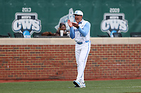 CHAPEL HILL, NC - FEBRUARY 27: Head coach Scott Forbes #21 of North Carolina encourages his team during a game between Virginia and North Carolina at Boshamer Stadium on February 27, 2021 in Chapel Hill, North Carolina.