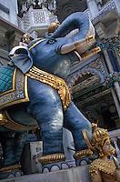 "Asie/Inde/Maharashtra/Bombay: Temple ""Jaîna"" à Malabar Hill - Détail sculpure éléphant"