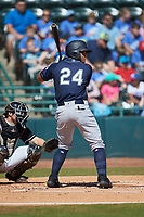Wilkerman Garcia (24) of the Charleston RiverDogs at bat against the Hickory Crawdads at L.P. Frans Stadium on May 13, 2019 in Hickory, North Carolina. The Crawdads defeated the RiverDogs 7-5. (Brian Westerholt/Four Seam Images)