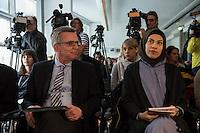 """Veranstaltung """"Begriffswelten Islam"""" in der Bundeszentrale fuer politische Bildung (bpb) mit BM Thomas de Maiziere mit den YouTubern Nemi El-Hassan (Datteltaeter) und Mirko Drotschmann (Mr.Wissen2Go) und dem Leiter der Bundeszentrale Thomas Krueger.<br /> Am Mittwoch den 3. Februar 2016 stellte die Bundeszentrale fuer politische Bildung zuammen mit den Youtube-Bloggern Nemi El-Hassan (Datteltaeter) und Mirko Drotschmann (Mr.Wissen2Go) ein neues Projekt zum Thema Islam vor. Die Blogger erklaeren in ihren von der Bundeszentrale unterstuetzten Filmbeitraegen wesenliche Begriffe des Islam vor und versuchen Vorurteile und Falschinformationen fuer Muslime und nicht-Muslime auszuraeumen.<br /> Im Bild vlnr.: Thomas de Maiziere, Nemi El-Hassan.<br /> 3.2.2016, Berlin<br /> Copyright: Christian-Ditsch.de<br /> [Inhaltsveraendernde Manipulation des Fotos nur nach ausdruecklicher Genehmigung des Fotografen. Vereinbarungen ueber Abtretung von Persoenlichkeitsrechten/Model Release der abgebildeten Person/Personen liegen nicht vor. NO MODEL RELEASE! Nur fuer Redaktionelle Zwecke. Don't publish without copyright Christian-Ditsch.de, Veroeffentlichung nur mit Fotografennennung, sowie gegen Honorar, MwSt. und Beleg. Konto: I N G - D i B a, IBAN DE58500105175400192269, BIC INGDDEFFXXX, Kontakt: post@christian-ditsch.de<br /> Bei der Bearbeitung der Dateiinformationen darf die Urheberkennzeichnung in den EXIF- und  IPTC-Daten nicht entfernt werden, diese sind in digitalen Medien nach §95c UrhG rechtlich geschuetzt. Der Urhebervermerk wird gemaess §13 UrhG verlangt.]"""