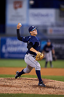 Pitcher Dylan O'Connell (11) of Flanagan High School in Pembroke Pines, Florida playing for the Tampa Bay Rays scout team during the East Coast Pro Showcase on July 29, 2015 at George M. Steinbrenner Field in Tampa, Florida.  (Mike Janes/Four Seam Images)