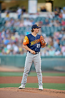Las Vegas Aviators starting pitcher Parker Dunshee (29) looks to the plate for the sign against the Salt Lake Bees  at Smith's Ballpark on July 20, 2019 in Salt Lake City, Utah. The Aviators defeated the Bees 8-5. (Stephen Smith/Four Seam Images)
