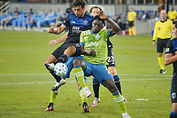 SAN JOSE, CA - OCTOBER 18: Oswaldo Alanis #4 of the San Jose Earthquakes and Yeimar Gomez Andrade #28 of the Seattle Sounders during a game between Seattle Sounders FC and San Jose Earthquakes at Earthquakes Stadium on October 18, 2020 in San Jose, California.
