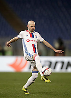 Football Soccer: Europa League Round of 16 second leg, Roma-Lyon, stadio Olimpico, Roma, Italy, March 16,  2017. <br /> Lyon's Christophe Jallet in action during the Europe League football soccer match between Roma and Lyon at the Olympique stadium, March 16,  2017. <br /> Despite losing 2-1, Lyon reach the quarter finals for 5-4 aggregate win.<br /> UPDATE IMAGES PRESS/Isabella Bonotto