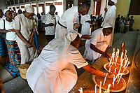 "MALI, Bamako, catholic church, holy mass, order sister with candles / katholische Kirche, Sonntagsmesse zum ""Tag des geweihten Lebens"" Kirche in Kalaban-Coro, Ordensschwestern mit Kerzen"