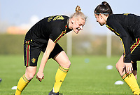 20190226 - LARNACA , CYPRUS :  Belgian Ella Van Kerkhoven  pictured in a duel with Laura De Neve (r)  during a Matchday -1 training from The Belgian Red Flames prior to their game against the women team of Slovakia , on Tuesday 26 February 2019 at the Alpha Sports Grounds in Larnaca , Cyprus . This will be the first game in group C for Belgium during the Cyprus Womens Cup 2019 , a prestigious women soccer tournament as a preparation on the European Championship 2021 qualification duels. PHOTO SPORTPIX.BE   DAVID CATRY