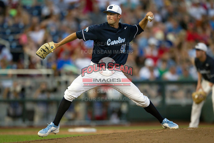 North Carolina pitcher Kent Emanuel (41) delivers a pitch to the plate during Game 12 of the 2013 Men's College World Series against the UCLA Bruins on June 21, 2013 at TD Ameritrade Park in Omaha, Nebraska. The Bruins defeated the Tar Heels 4-1, to reach the CWS Final and eliminate North Carolina from the tournament. (Andrew Woolley/Four Seam Images)