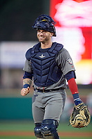 Lehigh Valley IronPigs catcher Nick Rickles (9) during a game against the Rochester Red Wings on June 29, 2018 at Frontier Field in Rochester, New York.  Lehigh Valley defeated Rochester 2-1.  (Mike Janes/Four Seam Images)