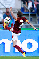 Calcio, Serie A: Roma vs ChievoVerona. Roma, stadio Olimpico, 18 ottobre 2014.<br /> Roma's Adem Ljajic stops the ball during the Italian Serie A football match between Roma and ChievoVerona at Rome's Olympic stadium, 18 October 2014.<br /> UPDATE IMAGES PRESS/Isabella Bonotto