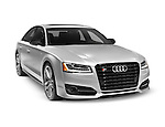 Silver 2016 Audi S8 Plus Sedan luxury car isolated on white background with clipping path Image © MaximImages, License at https://www.maximimages.com