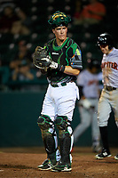 Daytona Tortugas catcher Tyler Stephenson (30) looks into the dugout during a game against the Jupiter Hammerheads on April 13, 2018 at Jackie Robinson Ballpark in Daytona Beach, Florida.  Daytona defeated Jupiter 9-3.  (Mike Janes/Four Seam Images)