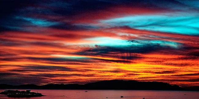 Sunset over the harbor of Kusadasi, Turkey