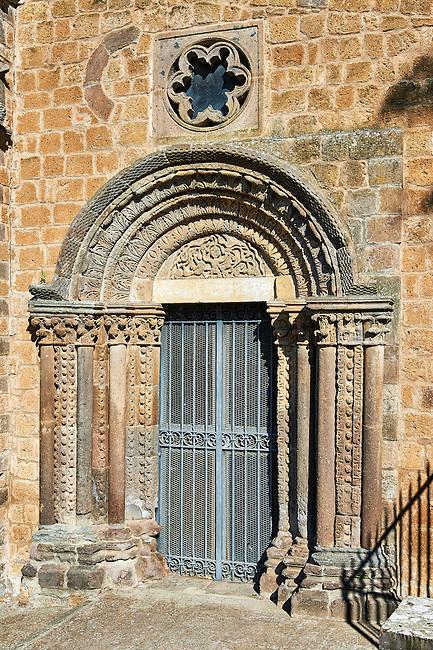 Romanesque side portal of the Basilica Church of Santa Maria Maggiore, Tuscania