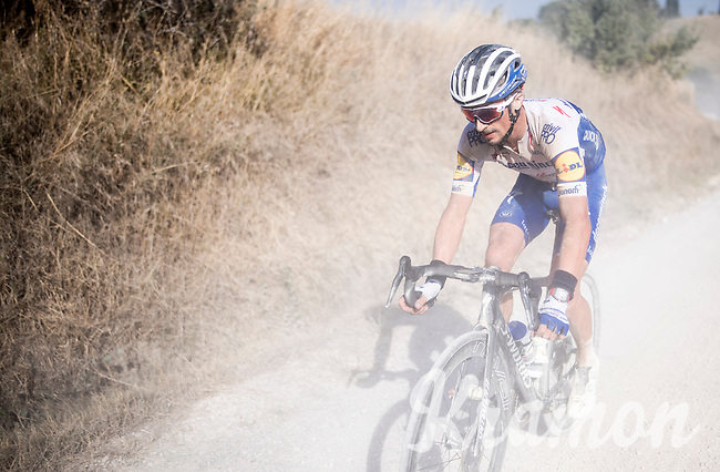 Julian Alaphilippe (FRA/Deceuninck-QuickStep) after yet another mechanical<br /> <br /> 14th Strade Bianche 2020<br /> Siena > Siena: 184km (ITALY)<br /> <br /> delayed 2020 (summer!) edition because of the Covid19 pandemic > 1st post-Covid19 World Tour race after all races worldwide were cancelled in march 2020 by the UCI