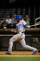 Tennessee Smokies center fielder Wynton Bernard (7) grounds out during a game against the Birmingham Barons on August 16, 2018 at Regions FIeld in Birmingham, Alabama.  Tennessee defeated Birmingham 11-1.  (Mike Janes/Four Seam Images)