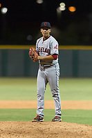 AZL Indians 2 relief pitcher Jose Oca (69) gets ready to deliver a pitch during an Arizona League game against the AZL Cubs 2 at Sloan Park on August 2, 2018 in Mesa, Arizona. The AZL Indians 2 defeated the AZL Cubs 2 by a score of 9-8. (Zachary Lucy/Four Seam Images)