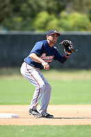 Atlanta Braves shortstop Jose Peraza (18) during a minor league spring training game against the Washington Nationals on March 26, 2014 at Wide World of Sports in Orlando, Florida.  (Mike Janes/Four Seam Images)