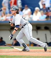 11 March 2008: Detroit Tigers' infielder Jeff Larish hits a single during a Spring Training game against the Cleveland Indians at Chain of Lakes Park, in Winter Haven Florida.The Tigers rallied to defeat the Indians 4-2 in the Grapefruit League matchup....Mandatory Photo Credit: Ed Wolfstein Photo