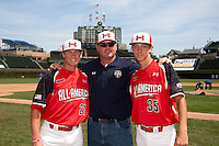 Pitcher/First Baseman Kacy Clemens #21 of Memorial High School in Texas poses for a photo with his father, former Major League pitcher Roger Clemens, along with starting pitcher Hunter Harvey #35 of Bandys High School in North Carolina before the Under Armour All-American Game powered by Baseball Factory at Wrigley Field on August 18, 2012 in Chicago, Illinois.  (Mike Janes/Four Seam Images)