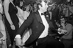 Dai Llewellyn taking a bow at the Deb of the Year Competition at Wedgies Night Club in the Kings Road, Chelsea, London 1982.<br />