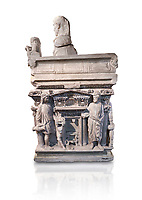 """End panel of a Roman relief sculpted sarcophagus with kline couch lid with a reclining male figuer depicted, """"Columned Sarcophagi of Asia Minor"""" style typical of Sidamara, 3rd Century AD, Konya Archaeological Museum, Turkey. Against a white background."""