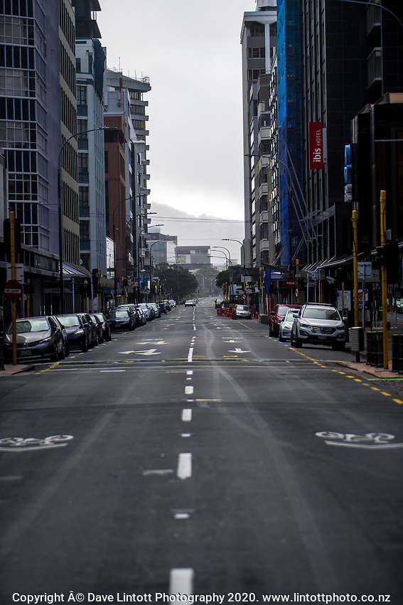 Featherston Street during quarantine lockdown for COVID19 pandemic in Wellington, New Zealand on Thursday, 2 April 2020. Photo: Dave Lintott / lintottphoto.co.nz