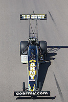 Feb. 23, 2013; Chandler, AZ, USA; NHRA top fuel dragster driver Tony Schumacher during qualifying for the Arizona Nationals at Firebird International Raceway. Mandatory Credit: Mark J. Rebilas-