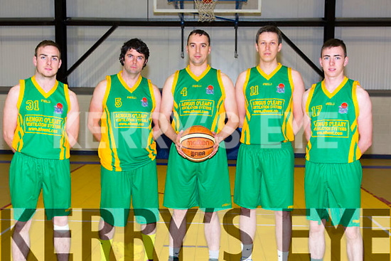 Gneeveguilla basketball Team  George O'Keeffe, Steven Lehane, Ed Fitzgerald, Andrew Gervinas, John O'Keeffe at the Div.1 cup match against St. Brendan's Tralee at Moyderwell sports hall on Thurday