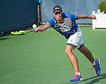 July 19,2016:   Ernesto Escobedo (USA) loses to Donald Young (USA) 6-3, 3-6, at the Citi Open being played at Rock Creek Park Tennis Center in Washington, DC, .  ©Leslie Billman/Tennisclix