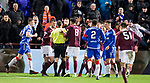 29.02.2020 Hearts v Rangers: Hearts players surround ref after George Edmundson handball