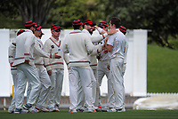 Canterbury players congratulate Will Williams on his dismissal of Rachin Ravindra during day three of the Plunket Shield match between the Wellington Firebirds and Canterbury at Basin Reserve in Wellington, New Zealand on Wednesday, 21 October 2020. Photo: Dave Lintott / lintottphoto.co.nz
