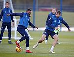 02.04.2019 Rangers training: Jermain Defoe and Gareth McAuley