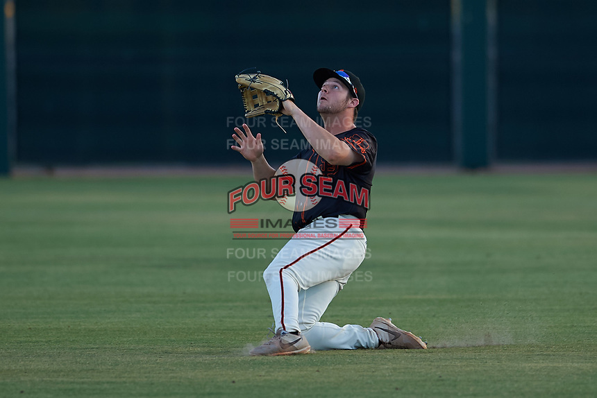 AZL Giants Black right fielder Harrison Freed (32) attempts to make a sliding catch during an Arizona League game against the AZL Angels at the Giants Baseball Complex on June 21, 2019 in Scottsdale, Arizona. AZL Angels defeated AZL Giants Black 6-3. (Zachary Lucy/Four Seam Images)