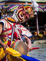 Close up of demon dancer at the Prakhar Lhakhang festival, Bumthang, Bhutan