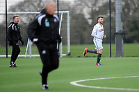 Pictured: Wednesday 13 December 2018<br /> Re: Coaching staff v Members of the press game at the Fairwood Training Ground, Wales, UK.
