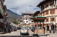 Thimphu, Bhutan.  Roundabout and Traffic Policeman in Central Thimphu.