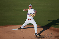 Kannapolis Cannon Ballers starting pitcher Chase Solesky (26) in action against the Fayetteville Woodpeckers at Atrium Health Ballpark on June 23, 2021 in Kannapolis, North Carolina. (Brian Westerholt/Four Seam Images)