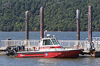 A Yonkers Fire Department rescue boat anchored on the Hudson River on the waterfront of Yonkers, New York.