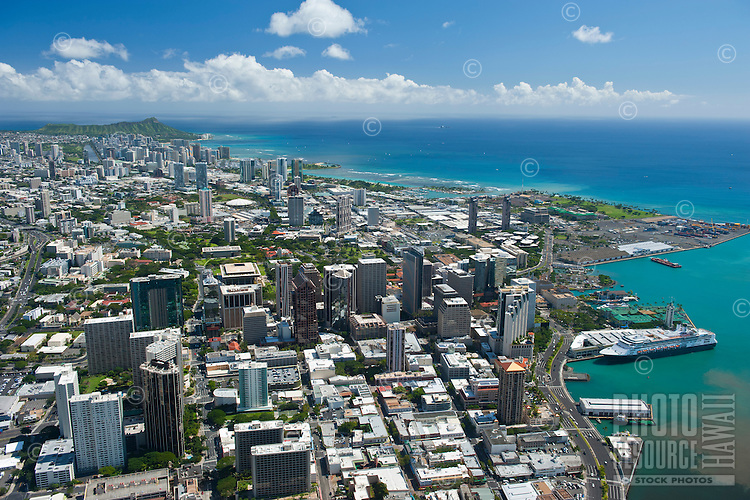 Aerial overview of downtown Honolulu looking to Diamond Head