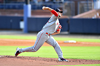Greenville Drive starting pitcher Grant Gambrell (31) delivers a pitch during a game against the Asheville Tourists on July 14, 2021 at McCormick Field in Asheville, NC. (Tony Farlow/Four Seam Images)