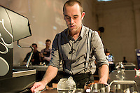 MELBOURNE, AUSTRALIA - JANUARY 09: WILL PRIESTLY competing in the 2011 Victorian Barista Championship held at St Kilda Town Hall on January 9, 2011 in Melbourne, Australia. (Photo by Sydney Low / Asterisk Images)