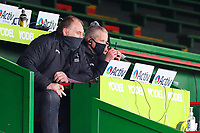 28th March 2021; Mattoli Woods Welford Road Stadium, Leicester, Midlands, England; Premiership Rugby, Leicester Tigers versus Newcastle Falcons; Newcastle Falcons Director of Rugby Dean Richards (left) and Assistant Coach Dave Walder watch the start of the game