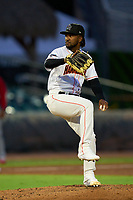 Jupiter Hammerheads pitcher Edison Suriel (1) during a game against the Palm Beach Cardinals on May 11, 2021 at Roger Dean Chevrolet Stadium in Jupiter, Florida.  (Mike Janes/Four Seam Images)