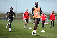Marvin Emnes (R) during the Swansea City FC training at Fairwood, Swansea, Wales, UK on Wednesday 04 May 2016
