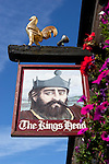 Great Britain, England, East Sussex, Battle: The Kings Head pub sign