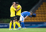 St Johnstone v Alashkert FC...09.07.15   UEFA Europa League Qualifier 2nd Leg<br /> Artak Grigoryan celebrates with Mihran Minasyan as a dejected Scott Brown looks at the ground<br /> Picture by Graeme Hart.<br /> Copyright Perthshire Picture Agency<br /> Tel: 01738 623350  Mobile: 07990 594431