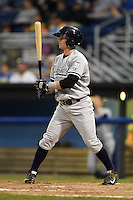Staten Island Yankees outfielder Devyn Bolasky (58) at bat during a game against the Batavia Muckdogs on August 7, 2014 at Dwyer Stadium in Batavia, New York.  Staten Island defeated Batavia 2-1.  (Mike Janes/Four Seam Images)